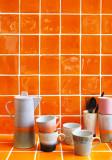 HKliving 70's Ceramic Cappuccino mok set van 4