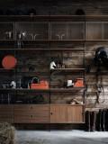 String Furniture Hoge kast medium, zwart/walnoot