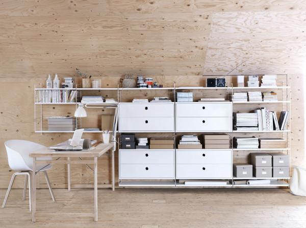 String Furniture Hoge kast large, wit