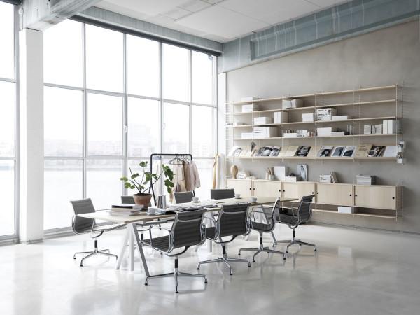 String Furniture Hoge kast medium, wit/eiken