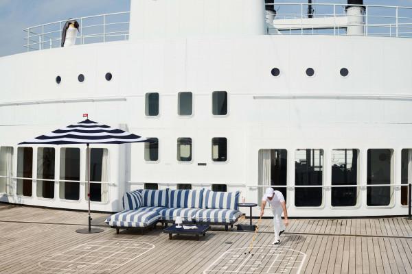 Fatboy Paletti Outdoor 3-zits loungebank Stripe Ocean Blue