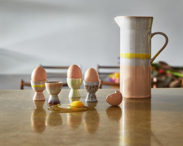 HKliving 70's Ceramic eierdopje set van 4