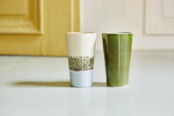 HKliving 70's Ceramic Latte mok set van 2