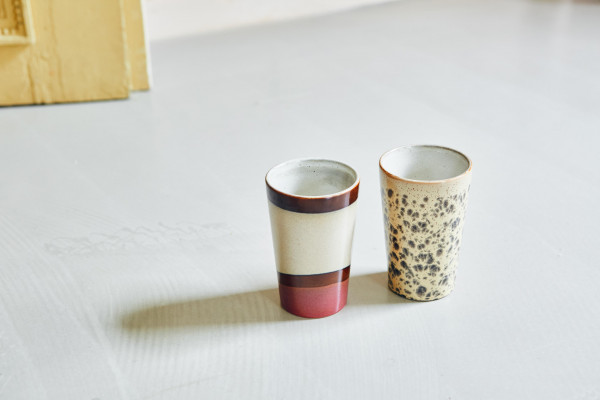 HKliving 70's Ceramic Thee mokken set van 2