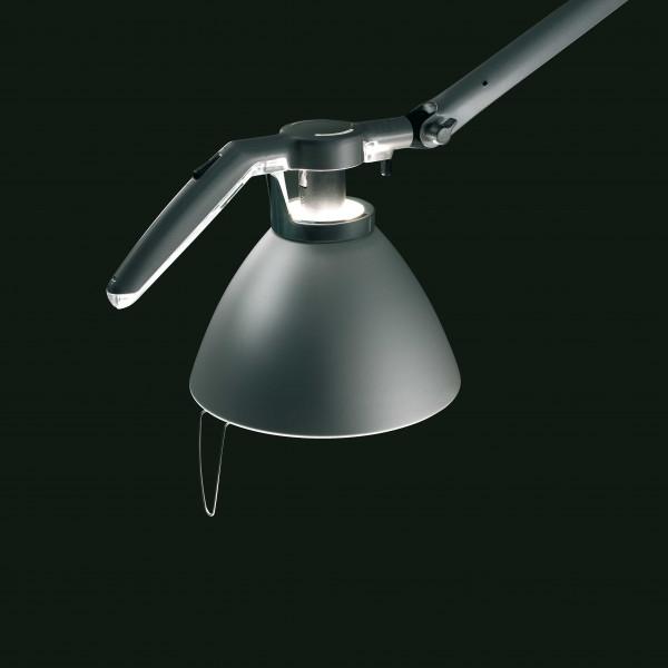 Luceplan Fortebraccio bureaulamp met dimmer en tafelklem wit