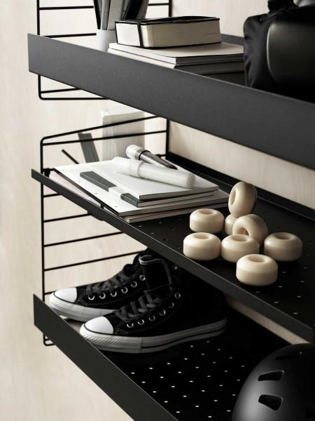 String Furniture Metal shelf high edge 78x30 1-pack