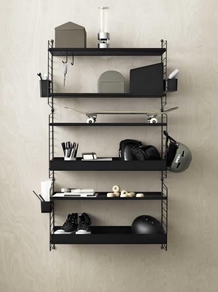 String Furniture Metal shelf low edge 78x30 1-pack