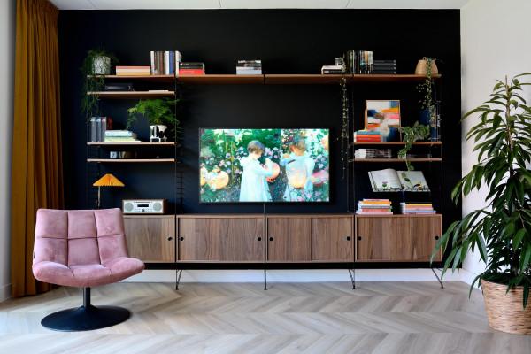 String Furniture Hoge kast large, zwart/walnoot
