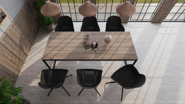 Nuuck Rectangle tafel 200x90 zwart onderstel