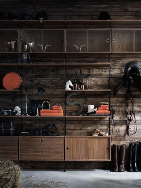 String Furniture Wandkast met tafel small, zwart/walnoot