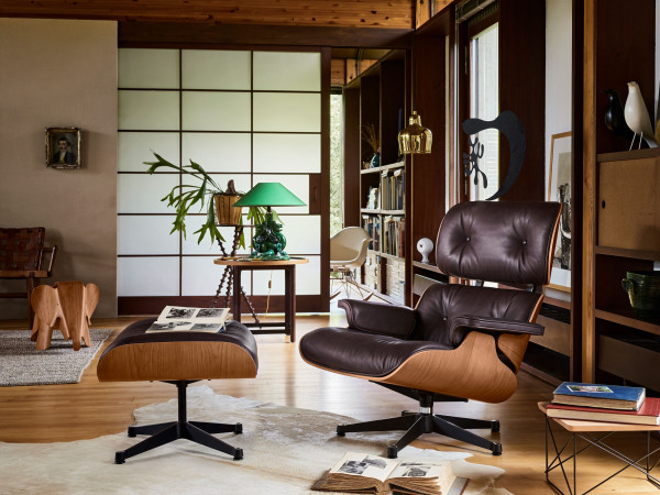 Vitra Eames Lounge chair met Ottoman fauteuil (nieuwe afmetingen) Chocolate