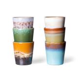 HKliving 70's Ceramic koffie mok set van 6