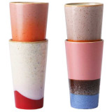 HKliving 70's Ceramic Latte mok set van 4