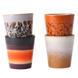 HKliving 70's Ceramic Ristretto mok set van 4