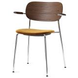 Menu Co Chair stoel chroom met armleuning gestoffeerd