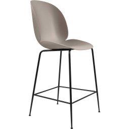 Gubi Tweedekansje - Beetle Chair barkruk 65cm met zwart onderstel beige