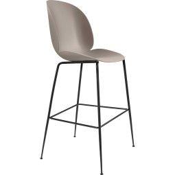 Gubi Tweedekansje - Beetle Chair barkruk 75cm met zwart onderstel beige
