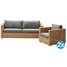 Cane-Line Chester loungeset 3-zits loungebank + 2 lounge fauteuils