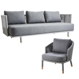 Cane-Line Moments loungeset 3-zits loungebank + fauteuil
