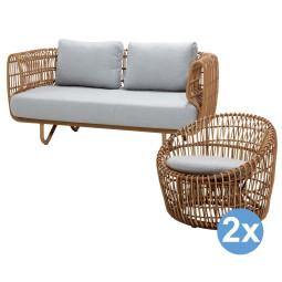 Cane-Line Nest loungeset 2-zits loungebank + 2 fauteuils rond