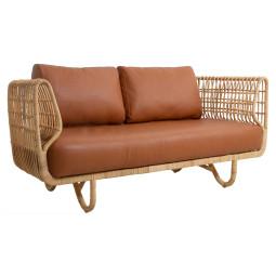 Cane-Line Nest Rattan 2-zits bank met leer cognac zitkussen indoor