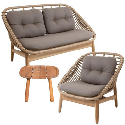 Cane-Line String loungeset 2-zits loungebank + fauteuil + Royal bijzet