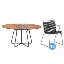 Houe Circle tuinset 150 tafel + 4 stoelen (armchair)