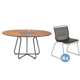 Houe Circle tuinset 150 tafel + 4 stoelen
