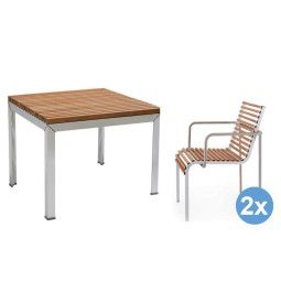 Extremis Extempore tuinset 80x80 tafel + 2 stoelen