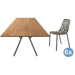 Fast Radice Quadra Teak tuinset 200x90 tafel + 6 stoelen (chair)