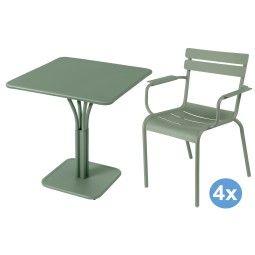 Fermob Luxembourg tuinset 71x71 tafel + 4 stoelen (armchair)