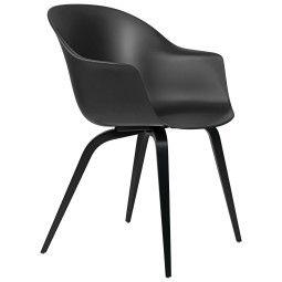 Gubi Bat Dining Wood stoel ongestoffeerd, black stained beech