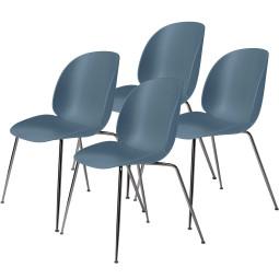 Gubi Beetle stoel, zwart chroom onderstel (set van 4)