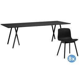 Hay Loop Stand 250 zwart eetkamerset + 8 AAC12 stoelen