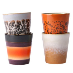 HKliving 70's Ceramic Ristretto mok set van 4