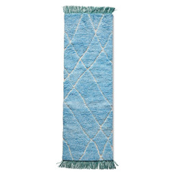 HKliving Hand Knotted Woolen vloerkleed 80x250 turquoise