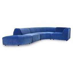HKliving Jax 4-zits bank velvet blue