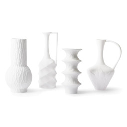 HKliving Matt White Porcelain vaas set van 4