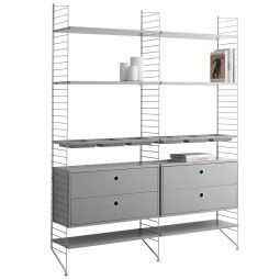 String Furniture Hoge kast 2 medium, grijs