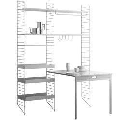 String Furniture Hoge kast medium met inklapbaar tafelblad, grijs