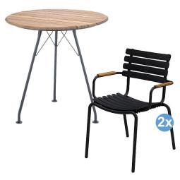 Houe ReClips tuinset Circum tuintafel + 2 ReClips stoelen bamboe