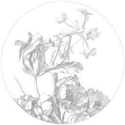 KEK Amsterdam Tweedekansje - Engraved Flowers behangcirkel 142.5 wit I