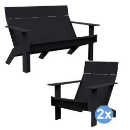 Loll Designs Lollygagger tuinset 2-zits tuinbank + 2 fauteuils