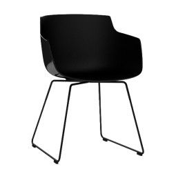 MDF Italia Flow Slim Armchair stoel zwart met slede onderstel