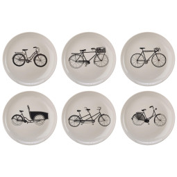 Pols Potten Bikes borden set van 6