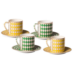 Pols Potten Chess Espresso mok set van 4