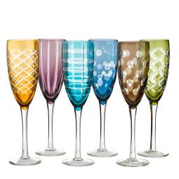 Pols Potten Multicolour Cuttings champagneglas set van 6