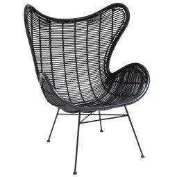 HKliving Tweedekansje - Rattan Egg fauteuil zwart