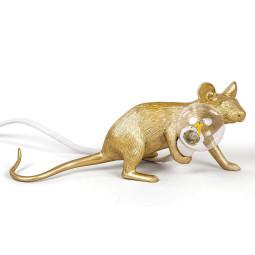 Seletti Mouse Lying Down tafellamp USB goud