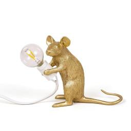 Seletti Mouse Sitting tafellamp USB goud